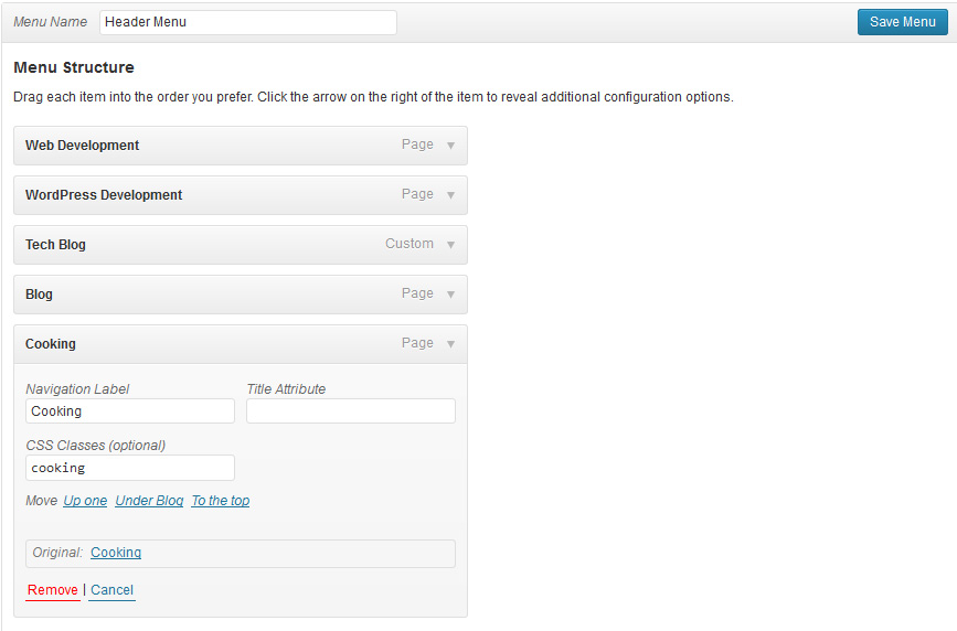 Screenshot of how a registered navigation menu appears in WordPress Menus Dashboard.