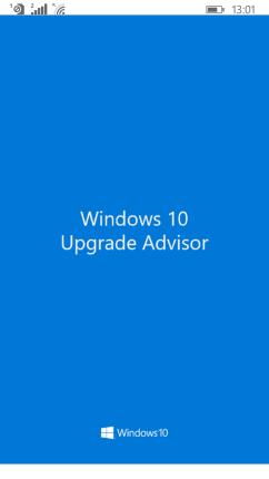 Upgrade Advisor Start Up Screen